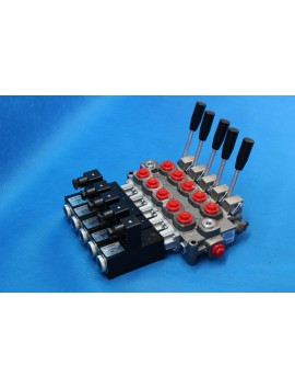 5 SECTIONS DIRECTIONAL CONTROL VALVE GALTECH Q45 60 l/min 16 GPM Electric solenoid 24V + levers
