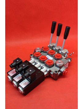 Galtech 3 SECTIONAL DIRECTIONAL CONTROL VALVE Q45 60 l/min 16 GPM Electric solenoid 12V + levers