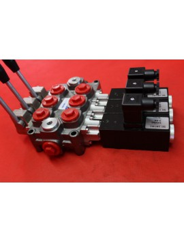 3 SECTIONAL DIRECTIONAL CONTROL VALVE GALTECH Q45 60 l/min 16 GPM Electric solenoid 24V + levers