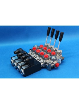 4 SECTIONS DIRECTIONAL CONTROL VALVE GALTECH Q45 60 l/min 16 GPM Electric solenoid 24V + levers