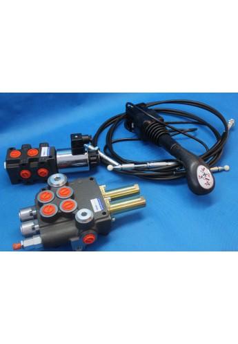 Hydraulic valve kit with joystick 3 function double acting for Kubota 40l/min 11GPM 12V