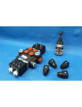HYDRAULIC BANK MOTOR 2 SPOOL VALVES 50L/MIN ELECTRIC 12V + JOYSTICK