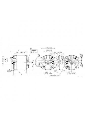 Gear pump Group 1 Galtech  6,3cc rev 1SPA6,3D10NN