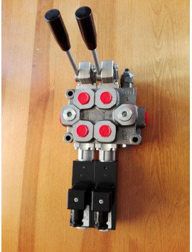 Galtech Q75 2 Sections Directional Control Valve 90 l/min 24 GPM Electric solenoid 12V + levers