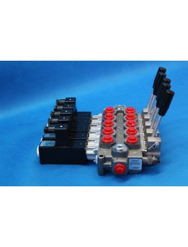 5 SECTIONS DIRECTIONAL CONTROL VALVE GALTECH Q95 120 l/min 31 GPM Electric solenoid 24V + levers