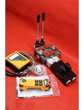 Monoblock Hydraulic Bank Motor 2 Spool Valves 90 l/min 24 GPM 24 V + JUUKO Wireless Control Panel