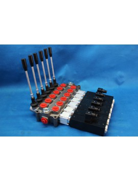 5 SECTIONS DIRECTIONAL CONTROL VALVE GALTECH Q95 120 l/min 31 GPM Electric solenoid 12V + levers