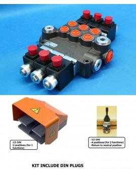 HYDRAULIC VALVE 3 SPOOL VALVES 50L/MIN ELECTRIC 12V +1 JOYSTICK +Foot pedal
