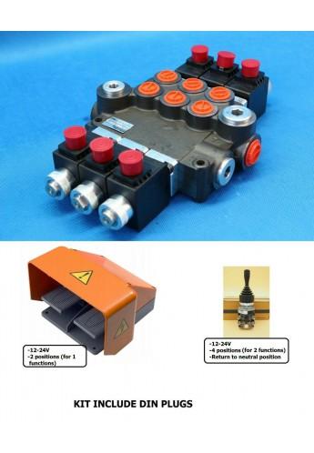 HYDRAULIC BANK MOTOR 3 SPOOL VALVES 50L/MIN ELECTRIC 12V +1 JOYSTICK +Foot pedal