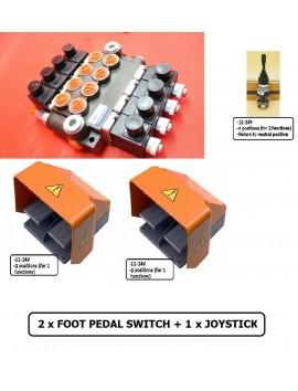 HYDRAULIC VALVE 4 SPOOL VALVE 50L/MIN ELECTRIC 24V  + 1 JOYSTICK +2 X FOOT PEDAL SWITCH+ 8 DIN PLUGS