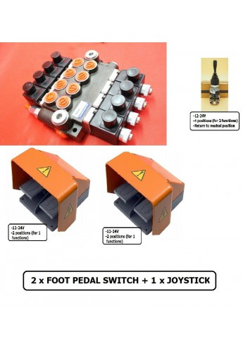 BANK MOTOR 4 SPOOL VALVE 50L/MIN ELECTRIC 24V  + 1 JOYSTICK +2 X FOOT PEDAL SWITCH+ 8 DIN PLUGS