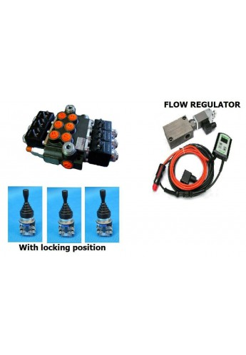 Proportional flow control 12V  HYDRAULIC VALVE 3 FUNCTIONS MOTOR SPOOL GRITTER