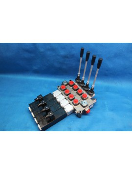 4 SECTIONS DIRECTIONAL CONTROL VALVE GALTECH Q75 90 l/min 24 GPM Electric solenoid 24V + levers
