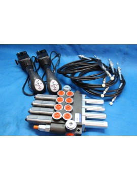 Hydraulic Valve Kit 4 FUNCTIONS + 4 swimming position 40 l/min (16GPM) 2 Joysticks with buttons