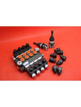 HYDRAULIC VALVE 4 DOUBLE FUNCTIONS VALVE 50L/MIN 16 GPM ELECTRIC 12V  CONTROLLED BY 2 JOYSTICKS