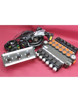Distributor valve 6 function 6 spool + control panel with 3 joystick with cables 50 l/min 16 gpm 24V