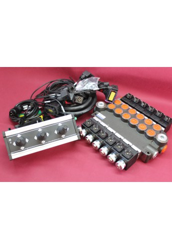 Distributor valve 6 function 6 spool + control panel with 3 joystick with cables