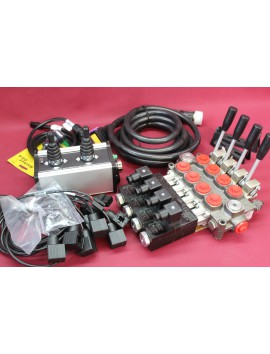 DIRECTIONAL CONTROL VALVE 4-SPOOL GALTECH 60 l/min Q45 + control panel with 2 joystick with cables