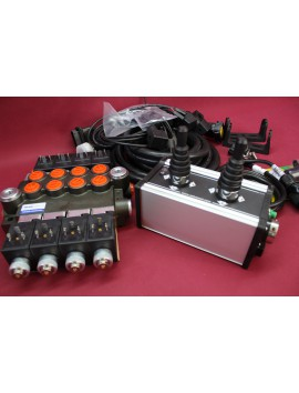 Distributor valve 4 function 4 spool 24V 80l/min+ control panel with 2 joystick with cables