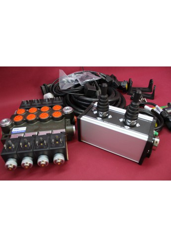 Distributor valve 4 function 4 spool + control panel with 2 joystick with cables