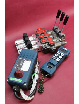 Remote radio HM Line 600 12V + 3 section valve 60 l/min 16gpm  12V + levers