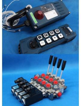 Galtech Monoblock Hydraulic Bank Motor 4 SPOOL VALVES 60 l/min (16GPM) + Radio Remote Controller HM-Line 800 12V