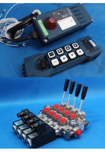 MONOBLOCK HYDRAULIC BANK MOTOR 4 SPOOL VALVES 60 l/min 12 V + REMOTE RADIO HM-Line 800