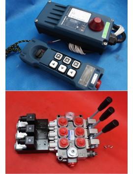 MONOBLOCK HYDRAULIC BANK MOTOR 3 SPOOL VALVES 120 l/min 31gpm 12 V + REMOTE RADIO HM-Line 600