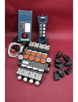 Remote radio HM Line 800 12V + Hydraulic valve 4 section 80 l/min 21 gpm 12V