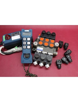 Monoblock Hydraulic valve 3 sections 50l/min 13 gpm 12V + Industrial remote control 6 buttons single speed HM Line 600 12V