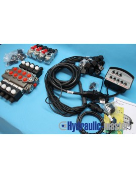 Hydraulic valve Walvoil 4 section 60 l/min 16gpm 12V with 4 float section + control panel