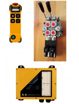 MONOBLOCK HYDRAULIC BANK MOTOR 2 SPOOL VALVES 40 l/min 11gpm 12 V + JUUKO CONTROL PANEL WIRELESS