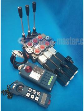 Galtech Monoblock Hydraulic Bank Motor 3 SPOOL VALVES 90 l/min (24GPM) 12 V + Radio Remote Controller HM-LINE 600