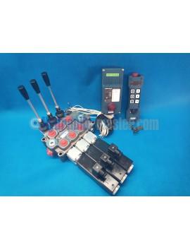 MONOBLOCK HYDRAULIC BANK MOTOR 3 SPOOL VALVES 90 l/min 24gpm 24 V + REMOTE RADIO HM-LINE 600
