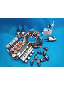 Monoblock hydraulic valve Valve 4-way electric 50 l / min + 2 joysticks + proportional