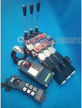 MONOBLOCK HYDRAULIC BANK MOTOR 3 SPOOL VALVES 60 l/min 16gpm 24 V + REMOTE RADIO HM-LINE 600