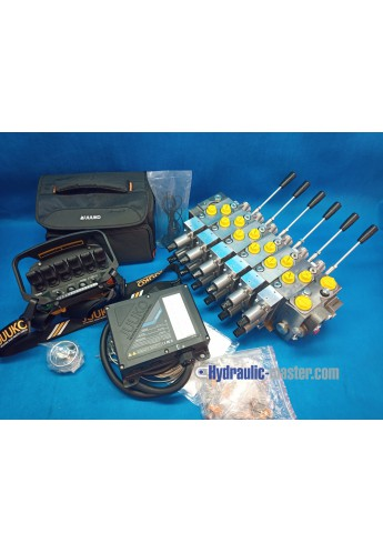 juuko remote radio 6 handle manipulators + Hydraulic valve HM Line 6 functions 120l/min 33GPM proportional 24V