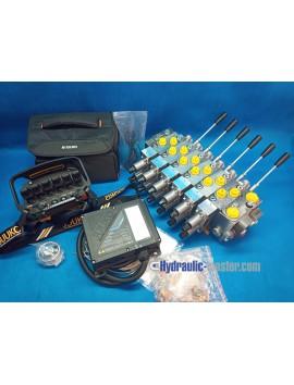juuko remote radio 6 handle manipulators + Hydraulic valve HM Line 6 functions 120l/min 33GPM proportional 12V