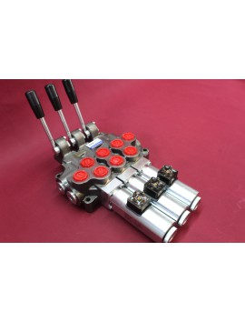 Hydraulic valve 3 sections HM line 90 l/min  24 gpm 12V double acting for cylinder spool