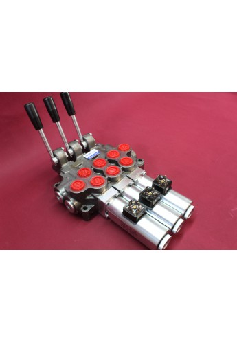 Hydraulic valve 3 sections HM line 90 l/min  24 gpm 24V double acting for cylinder spool
