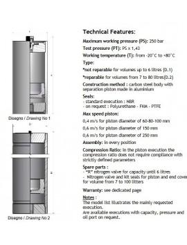 HYDROPNEUMATIC ACCUMULATOR H4000RP Po 90 bar HST 3.8 Liter
