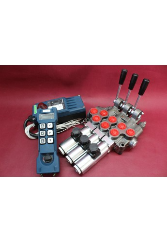 Hydraulic valve 3 sections HM line 90 l/min  24 gpm 12V double acting for cylinder spool +Remote Radio HM-Line 600 12V