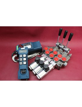Hydraulic valve 3 sections HM line 90 l/min  24 gpm 24V double acting cylinder spool +Remote Radio HM-Line 600 24V