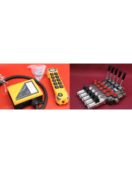 Hydraulic valve 5 sections HM line 90 l/min  24 gpm 12V double acting for cylinder spool + Remote radio on/off