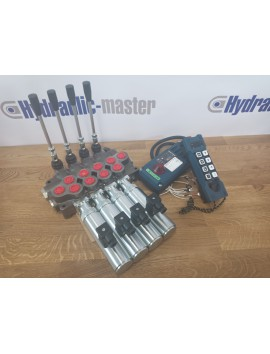 Hydraulic valve 4 sections HM line 90 l/min  24 gpm 24V double acting for cylinder spool + Remote Radio HM-Line 800 24V