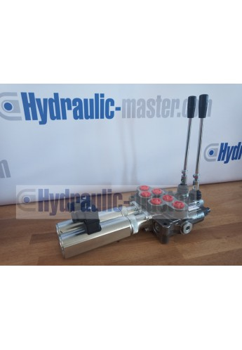 Hydraulic valve 2 sections HM line 90 l/min  24 gpm 24V double acting for cylinder spool