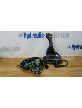 4 postion joystick with  buttons for 6 spool valve 12/24 V on/off DIN plugs complete wires kit