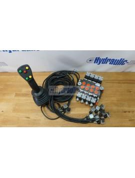 4 positions joystick 5 buttons + Monoblock Vave 4-spool hydraulic solenoid 80 l/min 13GPM 12VDC