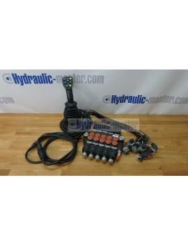 4 positions joystick 7 buttons + Monoblock Vave 5-spool hydraulic solenoid 80 l/min 13GPM 12VDC
