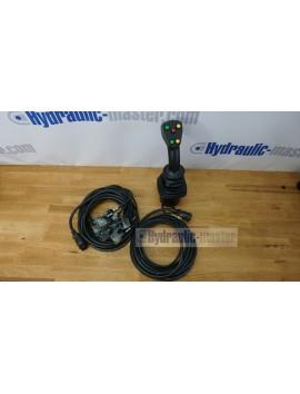 4 positions joystick 5 buttons + Monoblock Vave 4-spool hydraulic solenoid 80 l/min 13GPM 24VDC